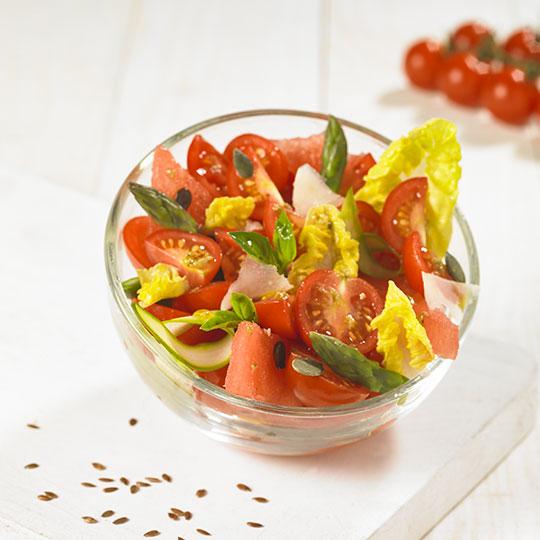 Salade de tomates Sweet Baby et pastèque